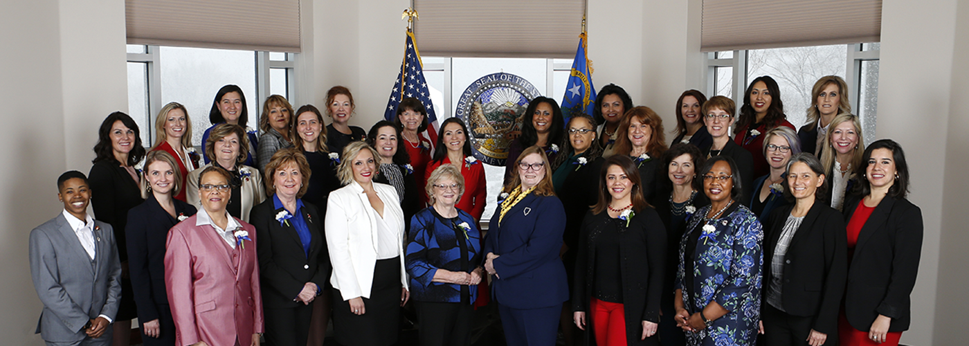 A picture of the female legislators, the first female majority State Legislature in the country.